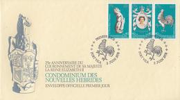 Enveloppe FDC  1er Jour   NOUVELLES  HEBRIDES   25éme  Anniversaire  Couronnement  De  La  Reine  1978 - FDC