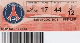 ABONNEMENT PSG 2002/2003 - France