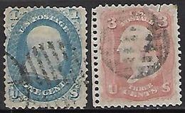 US  1861   Sc#63-4  1c & 3c Used   2016 Scott Value $800  Spacefiller - 1861-65 Confederate States