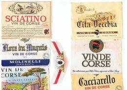 10 ETIQUETTES VIN DE CORSE ET D`ALGERIE , RECUPEREES SUR BOUTEILLE - Rode Wijn
