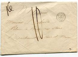 SEINE ET OISE De CORBEIL Env. Du 29/08/1849 Avec Taxe Plume De 10 Pour Un Poids De 16 Gr + Dateur T 15 - 1849-1876: Classic Period