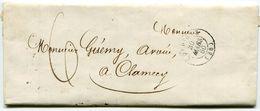 NIEVRE De CORBIGNY  LAC Du 30/03/1860 Avec Taxe Plume De 6 Et Dateur T 15 - Postmark Collection (Covers)