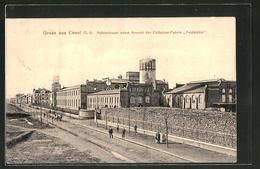 "AK Cosel, Hafenstrasse Nebst Cellulose-Fabrik ""Feldmühle"" - Schlesien"
