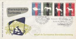 Suriname - FDC E24 - Dierenbescherming - Eend/hond/ezel/paard - NVPH 390-393 - Suriname ... - 1975