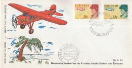 Suriname - FDC E54 - Emelia Earhart Met Haar Vliegtuig/luchtopname Van Paramaribo - NVPH 477-478 - Suriname ... - 1975