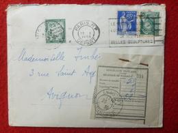 LETTRE TIMBRE TAXE EN COMPLEMENT SUR MERCURE ET PAIX RECIPISSE AVIGNON 1939 - Postmark Collection (Covers)