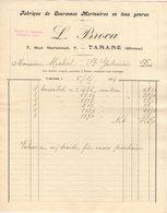 69 TARARE  FACTURE 1924 Fabrique De Couronnes Mortuaires L. BROCA  * Z45 - France