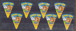 AC -  HAPPY COW TRIANGLE TRIANGULAR CREAM CHEESE LABELS 8 PIECES MADE IN AUSTRIA TO EXPORT TO IRAQ - Cheese