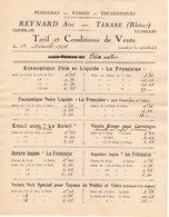 69 TARARE TARIF 1924 Peintures Vernis Encaustiques REYNARD Ainé   * Z45 - France