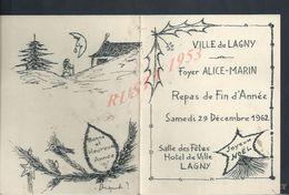 MENU ILLUSTRÉE FOYER ALICE MARIN VILLE DE LAGNY 1962 X DAMPMART  : - Menus