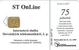 TÉLÉCARTE  PHONECARD TARJETA  SLOVAQUIE  ST ON LINE 09/97 100.000 EX  SPRAVNA VLNA PRE VAS INTERNET - Slovaquie