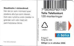 TÉLÉCARTE  PHONECARD TARJETA  SUEDE  TELIA STOCKLOM 10//99 100.000 EX - Suède