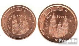 Spanien E2 - 3 2001 Stgl./unzirkuliert Stgl./unzirkuliert 2001 Kursmünze 2 Und 5 Cent - Spain