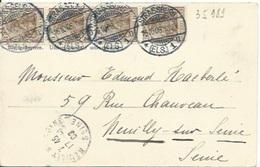 TP 82 En Bande De 4 Du Reich  Sur Carte Postale De Strasbourg Pour Neuilly Sur Seine - Alsace-Lorraine