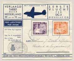 Nederlands Indië - 1937 - 7,5c En 12,5c Leger Des Heils Op 1e Vlucht DC-3 Van Semarang Naar Heemstede / Nederland - Nederlands-Indië