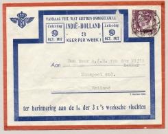 Nederlands Indië - 1937 - 20 C Wilhelmina Op 1e Vlucht 3x Per Week Van Batavia Naar Nunspeet / Nederland - Nederlands-Indië