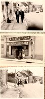 3 Photos Originales Village à Proximité De Chablis, Café De France Juillard, Citroën 2 Cv & Peugeot 404, Promeneurs - Places
