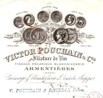 POUCHAIN  Filature De Lin     ARMENTIERES  59       TOP Illustration    1908 - Wechsel