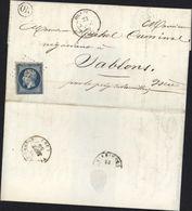 YT 14 CAD Type 15 Orange 23 Mars 1855 Oblitération PC Petit Chiffre Cachet OR Origine Rurale De Caderousse - 1849-1876: Klassieke Periode