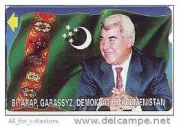 First President Of TURKMENISTAN Le Turkménistan & Flag Drapeau Flagge, Alcatel Mint. Präsident Phone Card - Turkmenistan