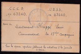 Carte D'un Lieutenant Belge Libéré Par Les Russes. Carte Expédiée D'URSS. Cachet Peu Lisible - 1923-1991 URSS
