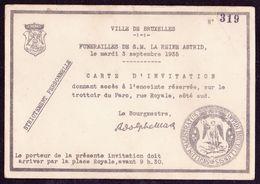 Carte D'invitation N° 319 Pour Les Funérailles De SM La Reine Astrid De Belgique à Bruxelles - Décès