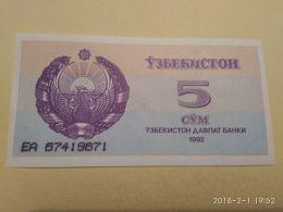 5 Sum 1992 - Uzbekistan