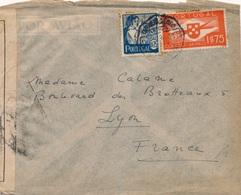 Lettre Censure Portugal Lisboa Pour Lyon - 1910-... République