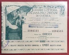 BIGLIETTO MULTIPLO GRANDE LOTTERIA ITALIANA PRO ORFANI DI GUERRA Prezzo Lire DIECI - Calendarios
