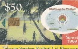 Kiribati - Palms, Boy & Sunset - See Description - Kiribati