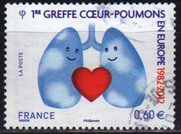 France 2012 1 V Used  1e Greffe Coeur-poumons En Europe - Geneeskunde
