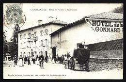 CPA ANCIENNE FRANCE- LAMURE-SUR-AZERGUES (69)- HOTEL DU PONT DE LA FEUILLETIERE- TRES BELLE ANIMATION GROS PLAN- - Lamure Sur Azergues