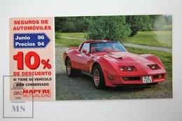 Spanish Mapfre Insurance Advertising Postcard - Red Sport 1979 Chevrolette Corvette - Turismo