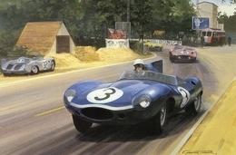 24 Heures Du Mans 1957  -  Ron Flockhart  -  Jaguar D-Type    - Art Card By Graham Turner - Le Mans