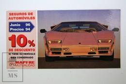 Spanish Mapfre Insurance Advertising Postcard - 1980's Lamborghini Countach - Voitures De Tourisme