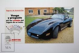 Spanish Mapfre Insurance Advertising Postcard - Black Colour 1980's Chevrolet Corvette - Turismo