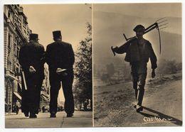 Photographe  Albert MONIER  --Des Champs Elysées (gendarmes) à D'autres Champs(paysan à Pied Avec Fourche Et  Faux) - Monier