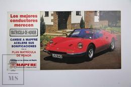 Spanish Mapfre Insurance Advertising Postcard - Red Sport Classic Car Ferrari Dino 246 GTS - Turismo