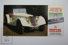 Spanish Mapfre Insurance Advertising Postcard - British 1934 Riley Convertible Classic Car - Turismo
