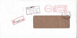 Belgium Registered Cover With Meter Cancel Bruxelles 13-2-1992 Sent To Germany - Belgium