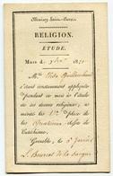 RC 6940 - 1821 DISTRIBUTION DES PRIX RELIGION ETUDE MAISON SAINT PIERRE GRENOBLE ISERE - TB - Diploma & School Reports