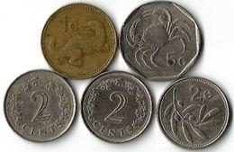 5 Pièces De Monnaie 1- 2 - 5  Cents - Malta