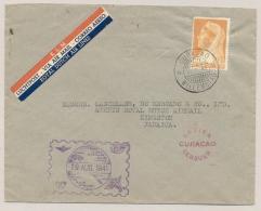 Curacao - 1941 - 20c Wilhelmina Met Sluier Op Censored 1e KLM Lijnvlucht Willemstad - Kingston / Jamaica - Curaçao, Nederlandse Antillen, Aruba