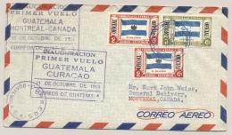 Guatemala / Curacao / Mexico / Canada - 1953 - 3 Special Flight Cancels On 1 Cover... - Curaçao, Nederlandse Antillen, Aruba