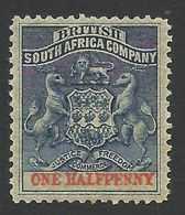 Rhodesia, British South Africa Company, 1/2 P, 1891, Sc # 1, Mi # 16, MH. - Great Britain (former Colonies & Protectorates)