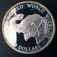 """COOK ISLANDS 10 DOLLARS 1990 SILVER PROOF """"Endangered World Wildlife"""" (free Shipping Via Registered Air Mail) - Cook"""