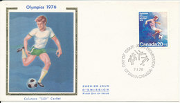 Canada FDC Olympic Games Football - Soccer Montreal 7-1-1976 With SILK Cachet - Summer 1976: Montreal