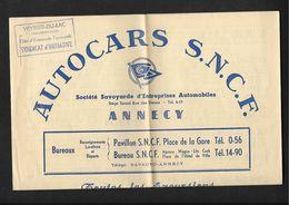 Annecy Autocars SNCF- Publicité  13X17cm Env - Alpes Maritimes Provence - Dépliants Touristiques