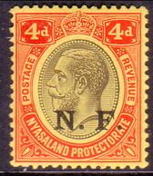 TANGANYIKA 1916 SG #N4 4d MNH CV £50 Nyasaland Stamp Optd N.F. (Nyassa Forces) - Tanganyika (...-1932)