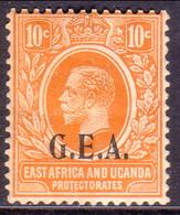 TANGANYIKA 1922 SG #73 10c MH K.U.T. Stamp Optd G.E.A. (German East Africa) - Tanganyika (...-1932)